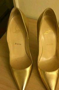 Christian Louboutin So Kate Gold Leather 37.5